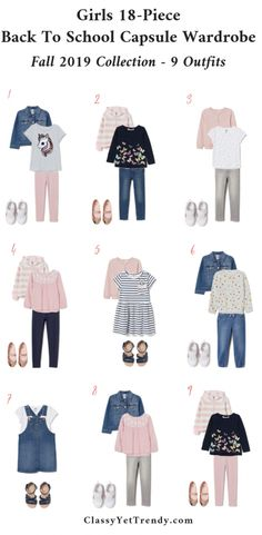 Girls Back To School Capsule Wardrobe: Fall 2019 Sizes + 9 Outfits - Classy Yet Trendy - Girls Back To School Capsule Wardrobe – Fall 2019 – 9 Outfits – A complete Back To S - Back School Outfits, School Girl Outfit, Back To School Clothes, Over 40 Outfits, Girls Fall Outfits, Toddler Outfits, Fall Capsule Wardrobe, Kids Wardrobe, Capsule Outfits