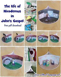 3 scenes uit het leven van Nicodemus knutsel. Gratis te printen. // Download, print, cut and stick - craft for Nicodemus.