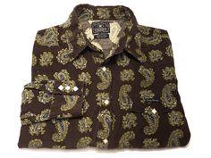 Lucky Brand M Men's Brown Corduroy Long Sleeve Diamond Pearl Snap Paisley Medium #LuckyBrand #ButtonFront