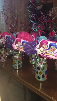 Shimmer and shine birthday party centerpiece