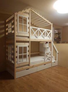Bunk Bed Rooms, Loft Bunk Beds, Wooden Bunk Beds, Bunk Beds Built In, Bunk Bed Plans, Bunk Beds With Stairs, Kids Bunk Beds, Bunk Beds For Toddlers, Childrens Bunk Beds