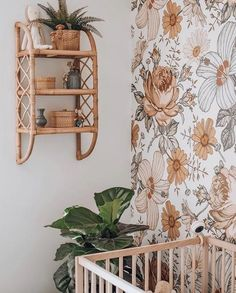 Create a vintage summer vibe with our beautiful Madelyn floral wallpaper. The removable wallpaper design is the perfect way to create a feature wall in your baby nursery, kids bedroom or home, and will dress up any room instantly! Flower Nursery, Boho Nursery, Nursery Wall Art, Nursery Decor, Room Decor, Kindergarten Wallpaper, Flower Wall Decor, Big Girl Rooms, Of Wallpaper