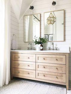 Top 10 Double Bathroom Vanity Design Ideas in 2019 - Double Bathroom Vanity Designs Ideas – Brown as well as White Double Vanity. An elevated double v - Bathroom Vanity Designs, Diy Bathroom, Bathroom Renos, Laundry In Bathroom, White Bathroom, Bathroom Renovations, Bathroom Interior, Small Bathroom, Bathroom Double Vanity