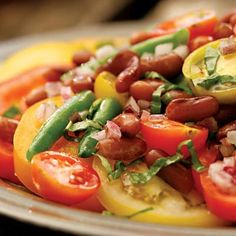 Bean and Tomato Salad with Honey Vinaigrette - Heirloom Beans Recipes - White Beans Tomato Salad Recipes - Dried Beans Recipes - Delish.com