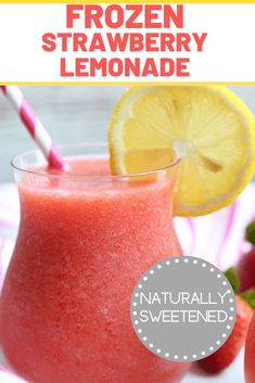 If you are looking for a refreshing summer treat that's naturally sweetened, you need to make this Frozen Strawberry Lemonade Recipe! Frozen Lemonade Recipes, Easy Lemonade Recipe, Healthy Lemonade, Homemade Strawberry Lemonade, Strawberry Drinks, Slushie Recipe, Frozen Drinks, Frozen Strawberry Slush Recipe