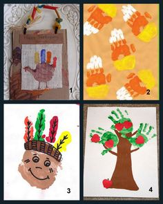 Fall handprint painting ideas. These can be activities that go along with stories about apples, Thanksgiving, turkeys, candy corn, Fall, etc.