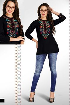 Latest Top Designs, Latest Tops, Western Tops, Western Wear, Embroidered Shorts, Stylish Tops, Short Tops, Office Wear, Party Wear