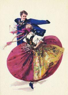 Folk costume from Cieszyn, Poland (strój wałaski). Vintage postcard: drawing by… Art Costume, Folk Costume, Dance Costumes, Poland Costume, Popular Costumes, Polish Folk Art, Dancing Drawings, Art Deco Posters, Folk Dance
