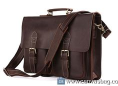 15″ Men's Leather Briefcase Handmade Leather Messenger Bag Laptop Bag Business Bag For Men
