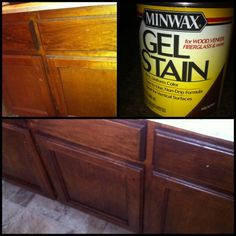 I used a Gel Stain from Home Depot to update my old bathroom cabinets!! Just tape them off, grab a sock and dip into gel stain than get to painting it on. They came out great and have held up!!
