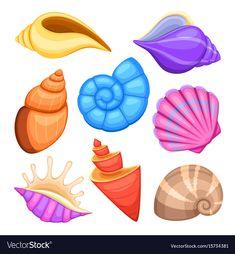 Ocean cockleshells cartoon sea shells vector image on VectorStock Cartoon Sea Animals, Cartoon Fish, Sea Drawing, Posca Art, Ocean Themes, Fish Art, Illustrations, Art Plastique, Sea Creatures