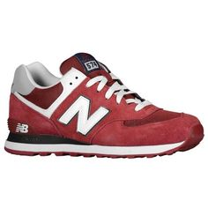 Shop for New Balance 574 Mens Laced Suede & Mesh Trainers Burgundy/White/Navy UK Big Discount