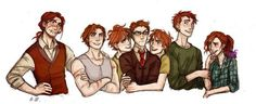 Weasleys: Bill, Charlie, Fred, Percy, George, Ron, and Ginny