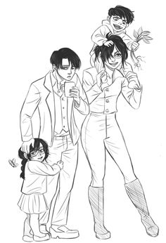 Attack On Titan- LeviHan - Me, Hanji and our darling children, Leelu and Samson - By Tumblr user drinkyourfuckingmilk ((Sophie))