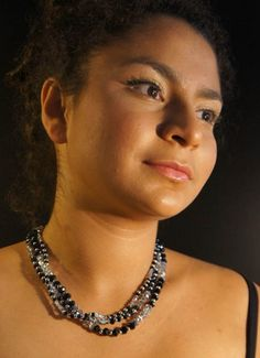 Black and silver Swarovski 3-strand necklace. NA-CH-051 | NillAhasseJewellery - Jewelry on ArtFire