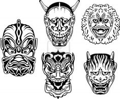 Japanese Demonic Noh Theatrical Masks. Set of black and white vector illustrations. Stock Photo
