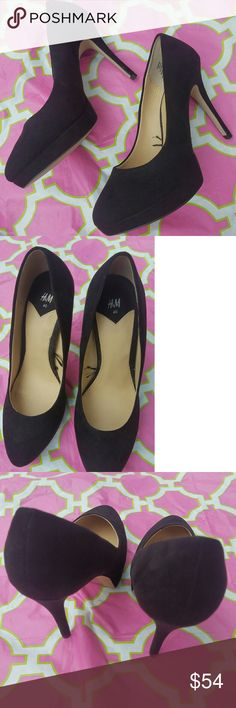 H&M black suede high hell pump 10 H&M black suede high hell pump size 10  says 9 but is size 10 worn twice hell still in good condition  not warn to much out bottom of shoe not that bad either H&M Shoes Heels