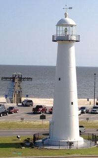View of the Biloxi Lighthouse and pier from the second floor at the welcome center.