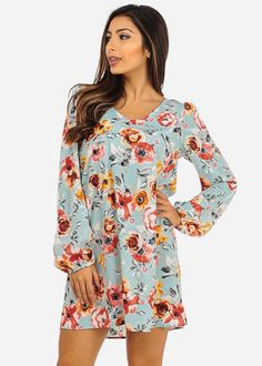 Long Sleeve Floral Print Dress (Blue)