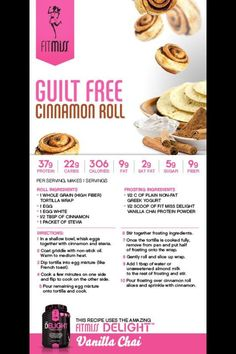 Guilt free Cinnamon Roll featuring #Delight from #FitMiss! #MusclePharm