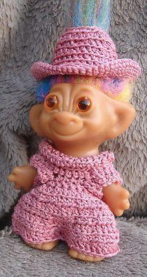 """Dusty Rose Jumpsuit & Hat Clothes fit 3.5"""" vintage troll dolls Crochet Dolls, Knit Crochet, Crochet Hats, Troll Dolls, Dusty Rose, Crochet Stitches, Bunt, Doll Clothes, Doll Dresses"""