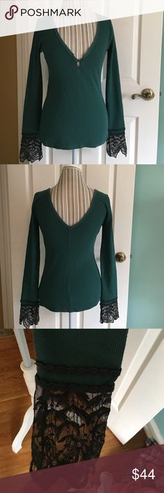 SALEFree People Last Dance Cuff Thermal Size M Only worn once! Free People Last Dance Cuff thermal. In color Jade and size Medium. Sheer mesh Cuff with scalloped trim. Plunging v-neckline. 57% Cotton 38% Polyester 5% Spandex. Free People Tops Tees - Long Sleeve