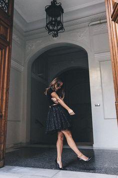 Collage Vintage idée jupe - tulle paillettes skirt maje