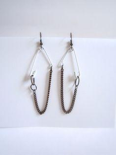 Handmade Safety Pin Dangle Earrings Funky Jewelry Baby Shower Gender Neutral