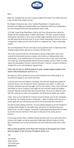 """Not to be outdone by the Senator Cruz (R-TX) Filibuster, the White house Staff went into full political mode. Within hours of taking the floor, White House Staff Dan Pfeiffer produced a letter blasting Republican attempts to de-fund Obamacare as """"a few reckless Republicans in congress are obsessed with re-fighting old battles"""". The letter […]"""