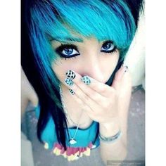 Scene, emo, girl, cute, blue, hair, blue, eyes found on Polyvore