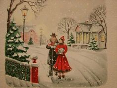 """Vintage """"strolling in the snow! Vintage Valentine Cards, Vintage Christmas Cards, Retro Christmas, Vintage Holiday, Christmas Greeting Cards, Christmas Greetings, Vintage Cards, Vintage Postcards, Holiday Cards"""