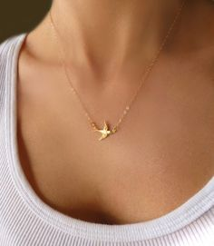 Small Bird Necklace  Tiny Bird Charm Necklace  by GlassPalaceArts