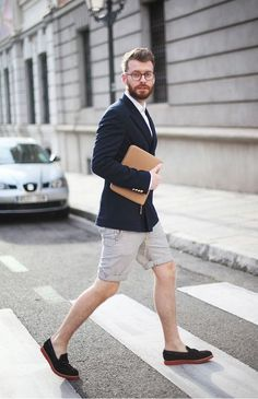 Shop this look for $343:  http://lookastic.com/men/looks/tassel-loafers-and-shorts-and-blazer-and-longsleeve-shirt-and-zip-pouch/2326  — Dark Brown Suede Tassel Loafers  — White and Black Vertical Striped Shorts  — Navy Wool Blazer  — White Longsleeve Shirt  — Tan Leather Zip Pouch