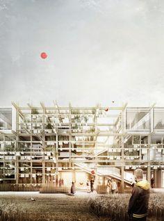 Austrian Pavilion for Expo 2015 by Chris Precht (penda) and Alex Daxböck. Image courtesy of Chris Precht and Alex Daxböck A As Architecture, Architecture Visualization, Architecture Drawings, Architecture Portfolio, Expo Milano 2015, Expo 2015, 3d Studio, Urban Farming, Austria