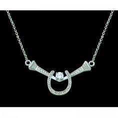 Montana Silversmiths Crystal Horseshoe  Nails Necklace Cowgirl Bling 6c367ac1e604