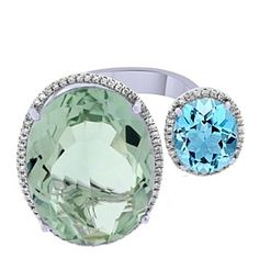 Oval Cut Green Quartz, Topaz & Diamond Two Stone Band Ring 14K White Gold by JewelryHub on Opensky