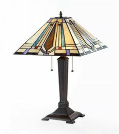 """Handcrafted Mission Styled Tiffany Style Stained Glass Table Lamp w 16"""" Shade 