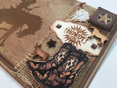 Wild West Blog Hop #boots #howdy Stampin Up A little somethin, wood veneer, cowboy