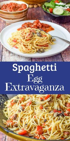 Imagine some delicious spaghetti with sautéed with shallots, pepper and mushrooms, then imagine sautéing them with some eggs!  This Spaghetti Egg Extravaganza is so delicious and comforting.  It's a fun way to use up leftover pasta! #spaghetti #egg #pasta #dishesdelish #dishesdelishrecipes https://ddel.co/speggex via @dishesdelish