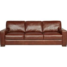 Vicario Brown Leather Sofa ❤ liked on Polyvore featuring home, furniture, sofas, brown couch, brown sofa, brown leather couch, brown's furniture and leather couch