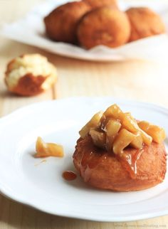 Apple Pie Donuts with homemade salted caramel sauce! FlavoursandFrosting.com