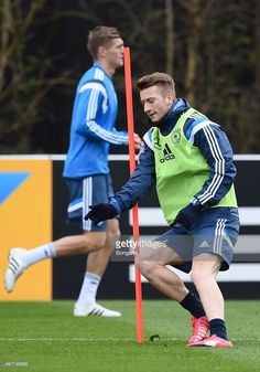 Marco Reus practices during a Germany training session ahead of their Euro 2016 Qualifier against...