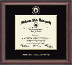 Alabama State University Diploma Frame - Our Masterpiece Edition features a custom-minted medallion of your school seal enhanced with color enamel accents.  The medallion is placed in a special bevel-cut opening within double black and gold museum-quality matting. It is framed in our Kensington moulding, crafted of solid wood with a cherry finish and enhanced with gold beaded detail on the inner lip.