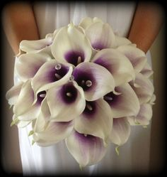 Brides Artificial wedding flowers posy bouquet of Handtied Real touch Calla lillies with Purple centres and diamantes with detailed handle on Etsy, $140.19