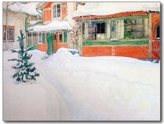 Carl Larsson | The Cottage in Snow, 1909