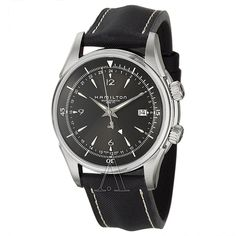 Hamilton, Jazzmaster Traveler GMT 2, Men's Watch, Stainless Steel Case, Fabric Over Leather Strap, Swiss Mechanical Automatic (Self-Winding), H32615835