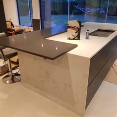 Kitchen of the week… Located in Stevenage, Herts, showcasing the Grigio Scuro Pura and Monaco Carrera - Rock and Co Granite Ltd Stevenage, Carrera, Monaco, Granite, Furniture, Kitchens, Design, Home Decor, Marble