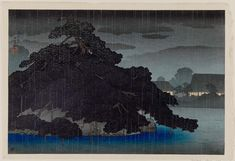 Kawase Hasui (Japanese, 1883–1957) Evening Rain on the Pine Island, from an untitled series of views of the Mitsubishi villa in Fukagawa | Museum of Fine Arts, Boston