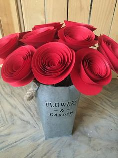 Red paper stemmed flowers.