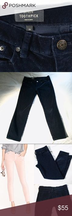 J. Crew Velvet Toothpick Pants Amazing navy velvet Toothpick style pants by J. Crew. Soft finish, cotton with a hint of stretch, you'll want this secret weapon in your wardrobe! Size 28, ankle/crop pant, 27in inseam, 99% cotton, 1% spandex. Worn once, in excellent condition. Sold out online! J. Crew Pants Ankle & Cropped